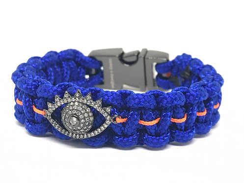 Royal Blue/Orange Football Evil Eye
