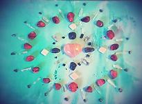 Crystal Healing Grid with Carnelian, Orange Selenite, Quartz Crystal, Hematite, Emerald, Black Tourmaline and Moonstone.