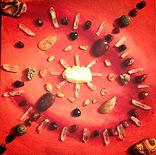 Full Moon Grid with Carnelian, Quartz, Tiger's Eye, Amber, Honey Calcite, Pyrite, Barite, Onyx, Zebra Stone