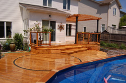 Curved Pool Deck & Rail with Pergola