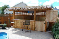 Three sided custom Tiki Bar