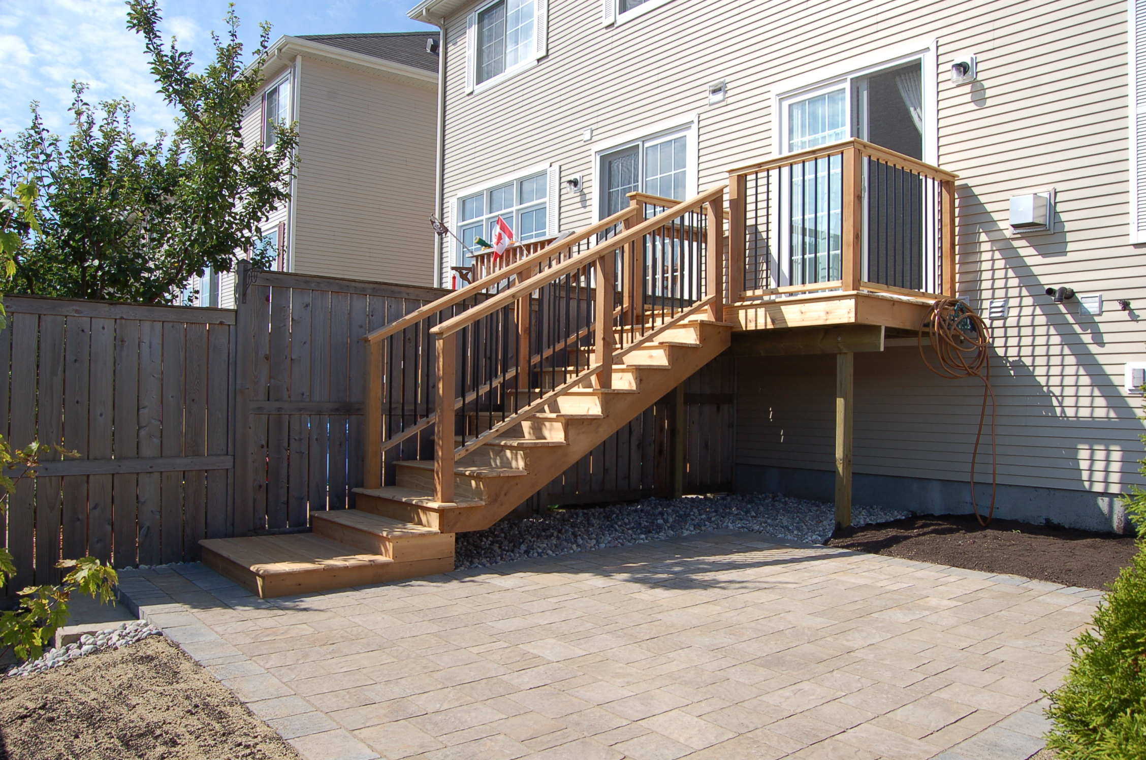 Brick Patio & Cedar Deck, Stairs