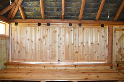 10 Ft. x 13 Ft. Tahiti Log Pool Side Bar with Barn Doors front and back and drop down bar doors
