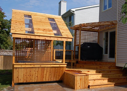 Hot Tub Structure with Bar,Sky Lights, Planter, Bench, Deck, BBQ Cover with Lexa