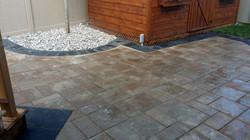 Brick patio, dark accent edge