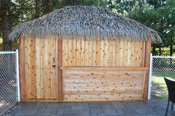 10 Ft. x 13 Ft. Tahiti Log Pool Side Bar with Barn Doors front and back and drop