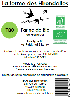 Farine de blé tendre T80 Bio