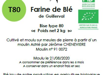 Farine de blé tendre T80 Bio 2 kg
