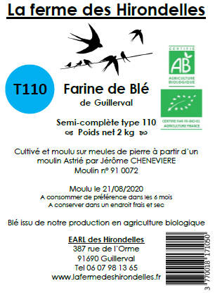 Farine de blé tendre T110 Bio