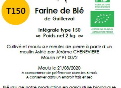 Farine de blé tendre T150 Bio 2 kg