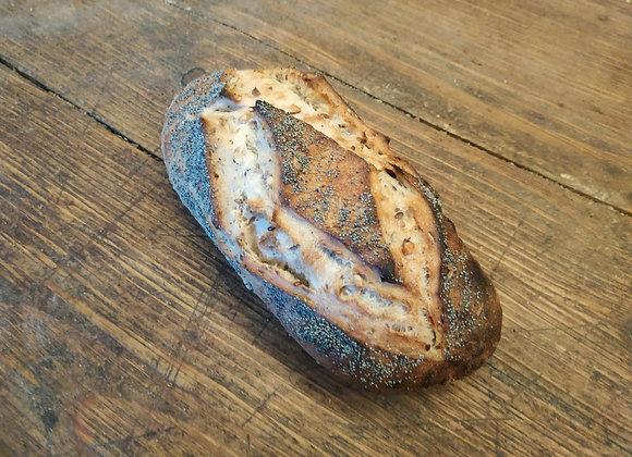 Pain aux graines et pavot bio au levain cuit au feu de bois 500g