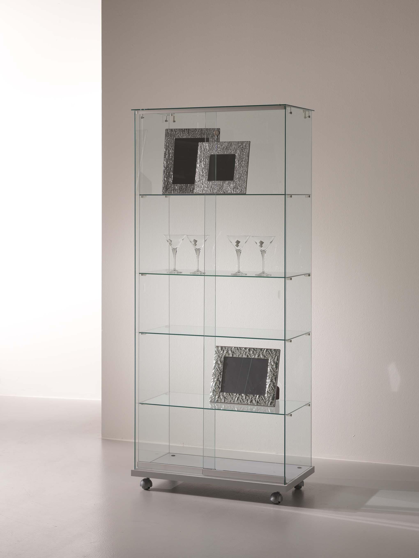 Tall display case with door