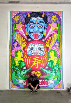 Mural el dios de los tres