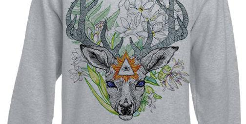 Sudadera ilustrada El dios de los tres Ciervo