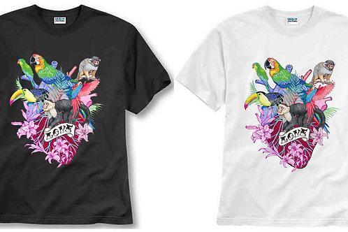 T-shirt ilustrada El dios de los tres Corazón tropical