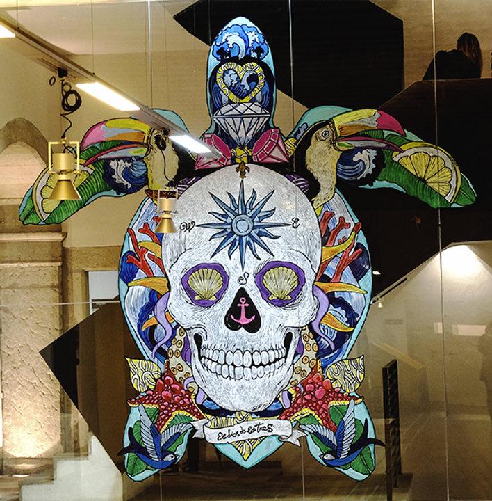 el dios de los tres mural, muralista, muralismo , ilustrador, ilustrador barcelona, ilustrador madrid , ilustradores españoles, ilustrador freelance