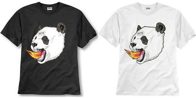 T-shirt ilustrada El dios de los tres Panda
