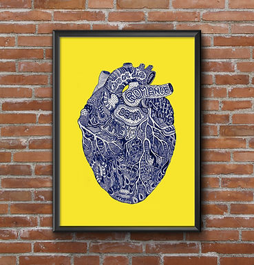 Corazón tinta azul