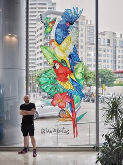 mural hotel Hilton El dios de los tres