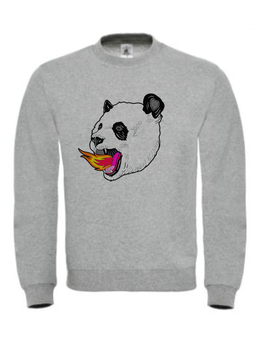 sudadera-ilustracion-panda-on-fire-gris-