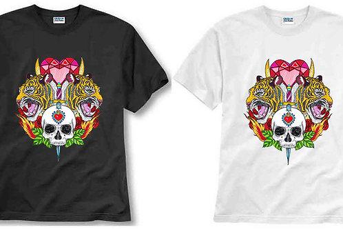 T-shirt ilustrada El dios de los tres TIGRE CRANEO