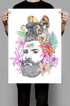 poster-ilustracion-monos-en-la-cabeza