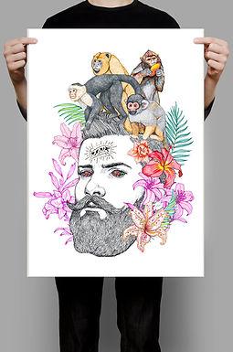 Monos en la cabeza Póster