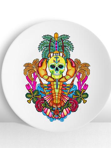 plato-ceramico-ilustracion-crustaceo