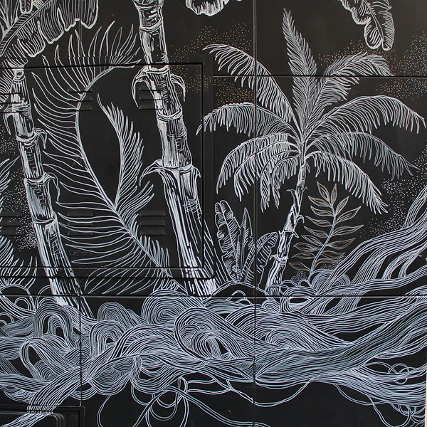 el dios de los tres mural ilustracion