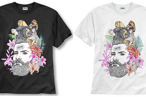 T-shirt ilustrada El dios de los tres Monos en la cabeza