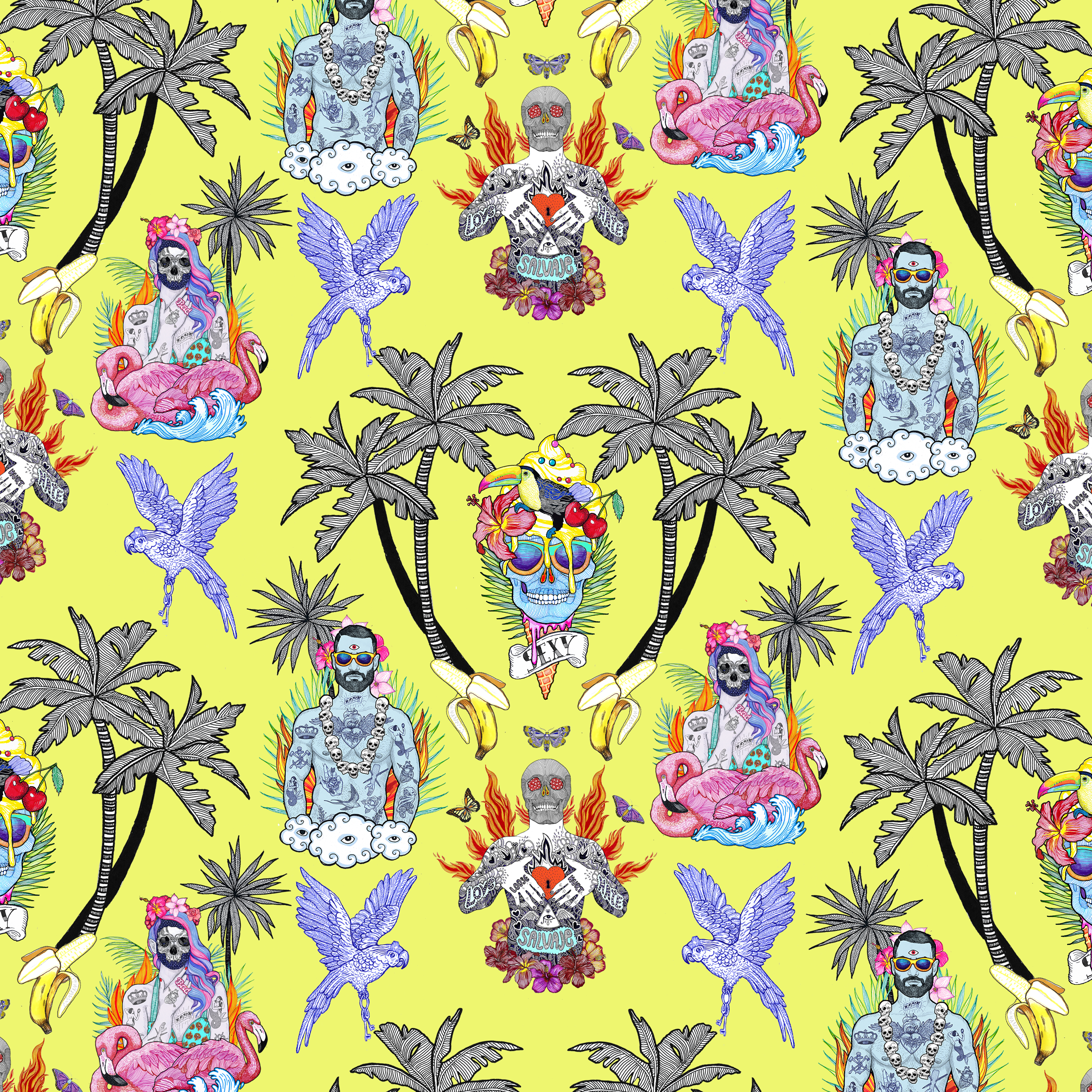 Pattern textil el dios de los tres