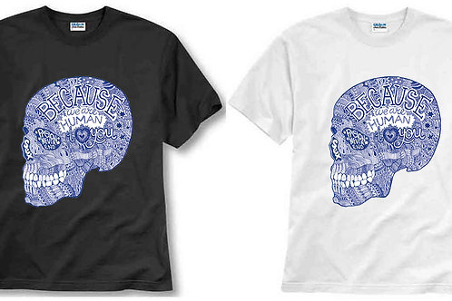 T-shirt ilustrada El dios de los tres Because we are Human i love you