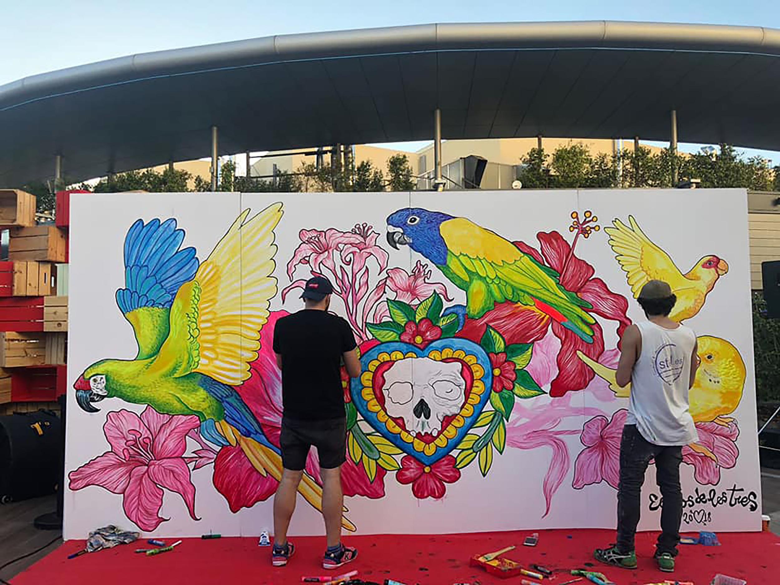 Acción_mural_centro_comercial_Barcelona