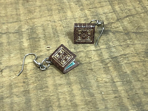Brown Leather Book Earrings Gold Gilding, Design 2