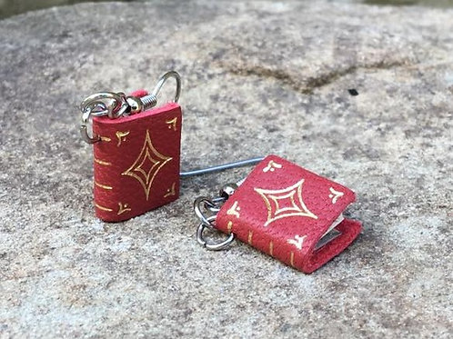 Red Leather Book Earrings design 1