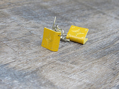 Yellow Leather Book Earrings design 1