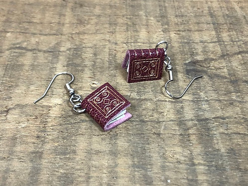 Maroon Leather Book Earrings Gold Gilding, Design 2