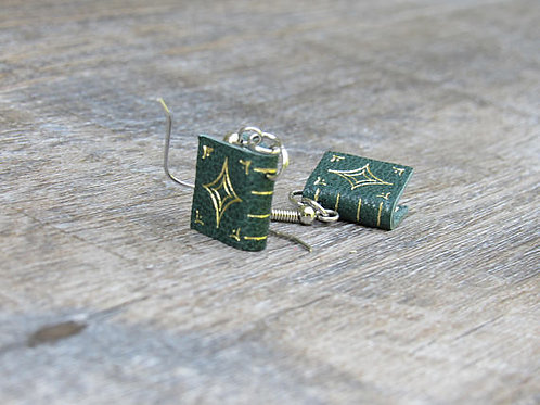 Green Leather Book Earrings Design 1