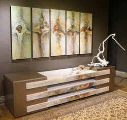 '3 TIER WALL UNIT AND ABSTRACTS'