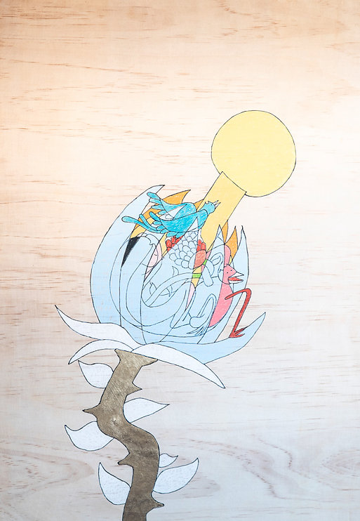 first love 2, pencil and gold leaf on wo