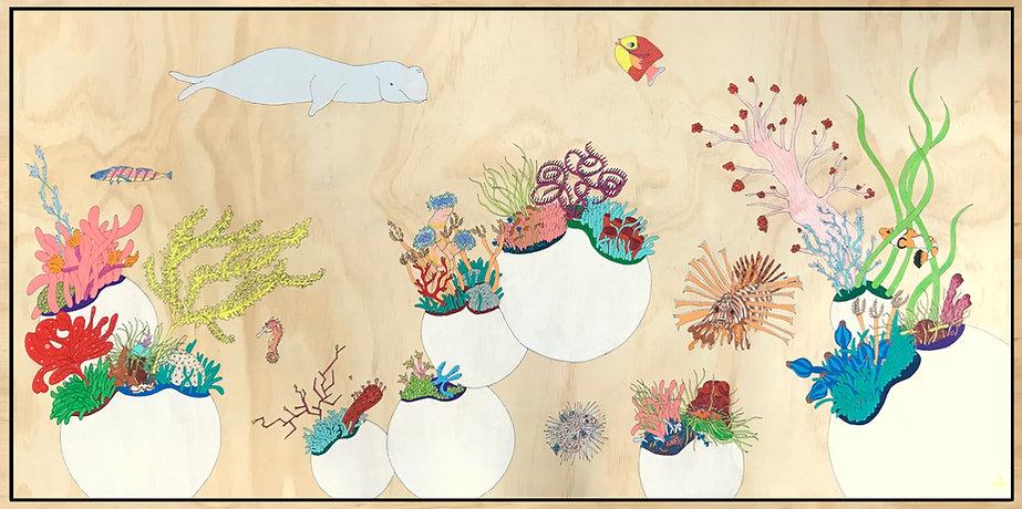 'sea-blooms', 60 x 120 cm, coloured penc