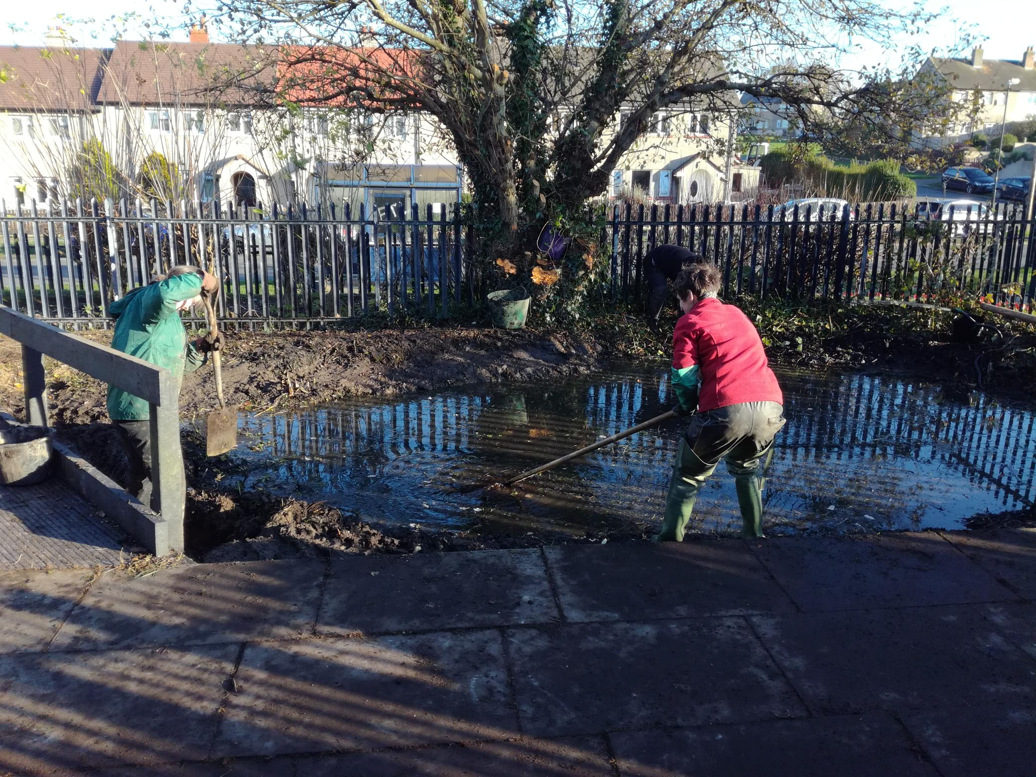 Clearing the old pond of silt