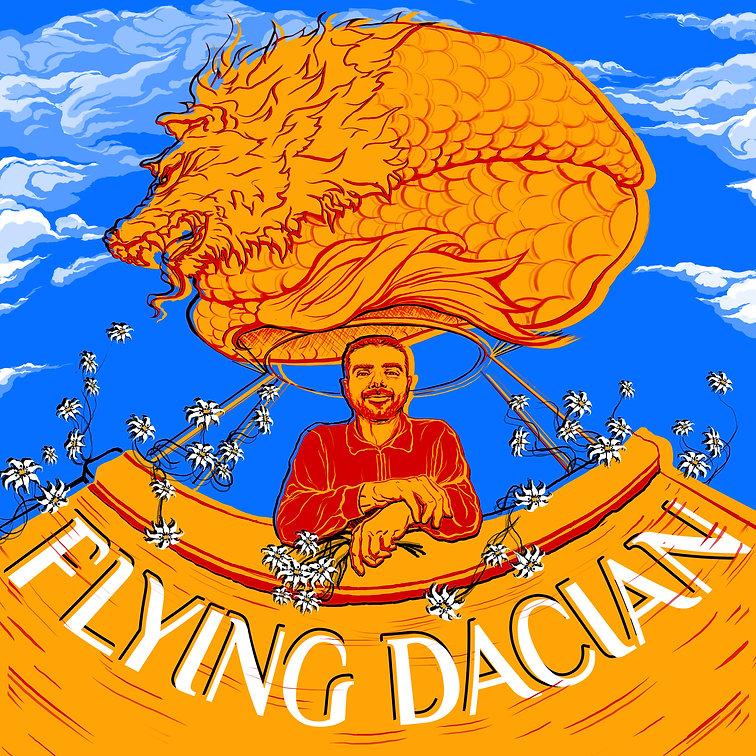 """Flying Dacian"" Podcast Cover Art - digital illustration"