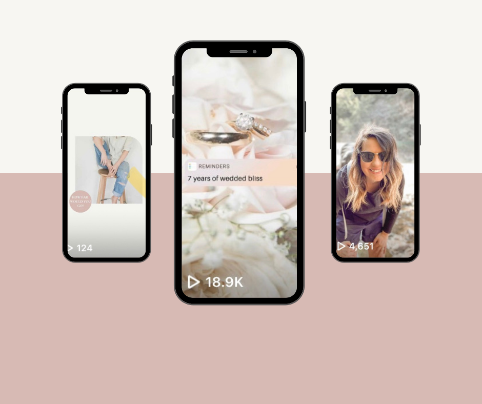 Three phones with images and numbers