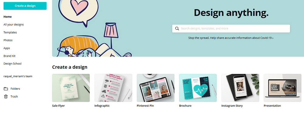 Homepage of Canva.com that says design anything