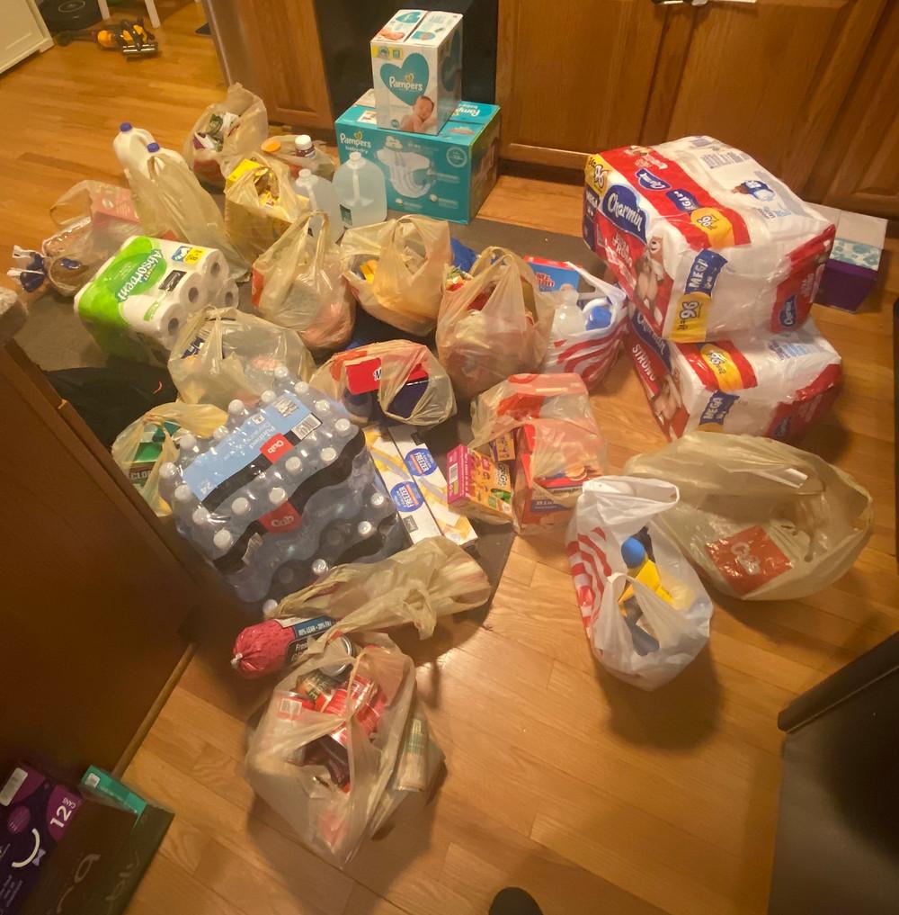 Grocery bags on kitchen floor