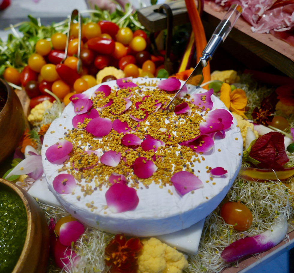 Brie with rose petals and bee pollen.jpg