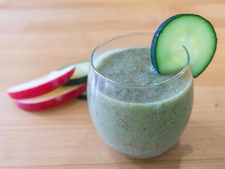 Cucumber, Apple, Kiwi Breakfast Smoothie