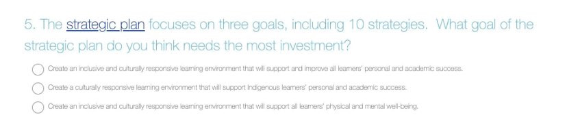 Survey question 5 from SD61 2021 budget survey