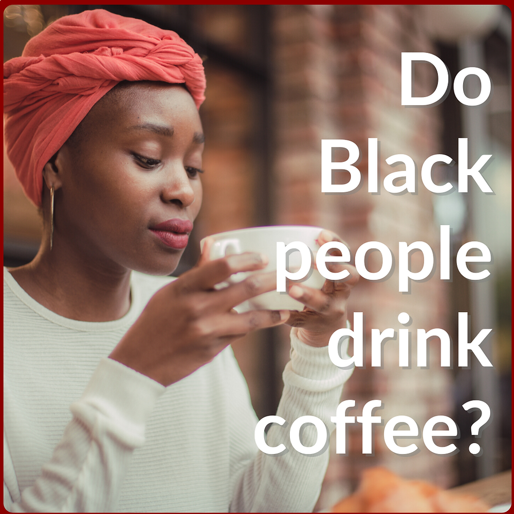 Black woman about to sip her coffee.